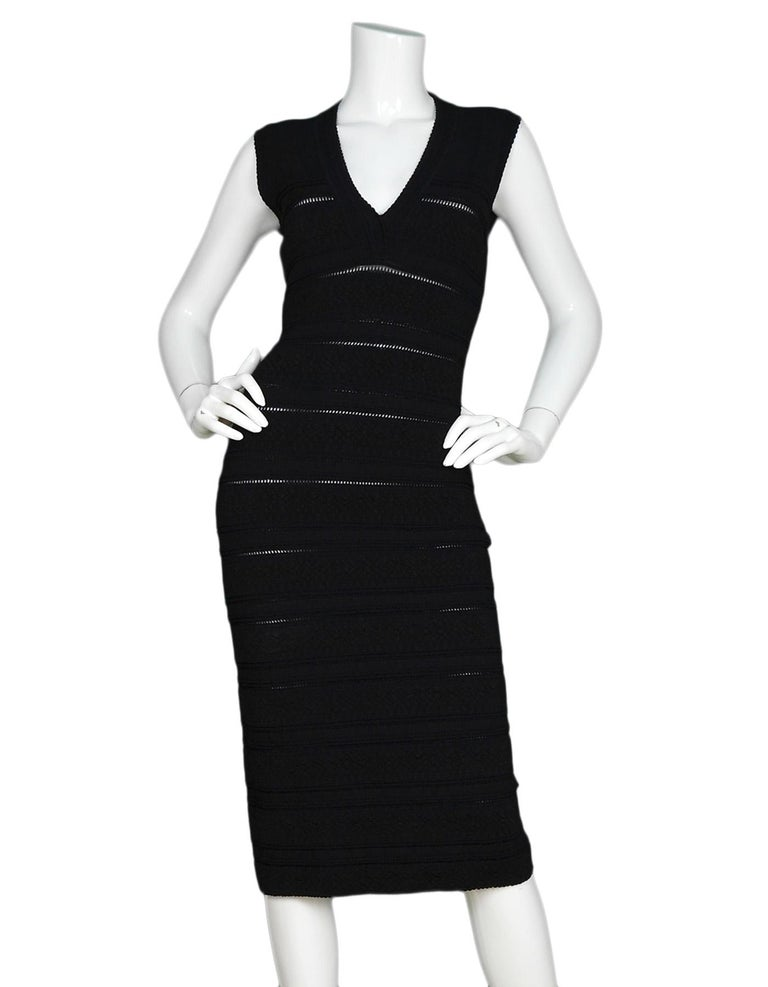 f28847c8556 Alaia Black Sleeveless V-Neck Body-Con Dress Sz 38 For Sale at 1stdibs
