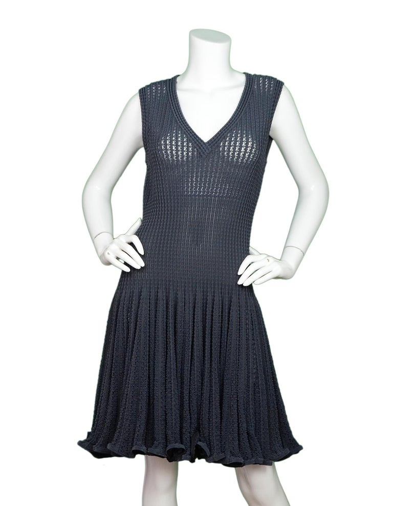 Alaia Grey Sleeveless Fit & Flare V Neck Dress Sz L  Made In: Italy Color: Grey Materials: 50% cotton, 25% viscose, 20% nylon, 5% polyester Opening/Closure: Hidden back zipper Overall Condition: Excellent pre-owned condition   Measurements: