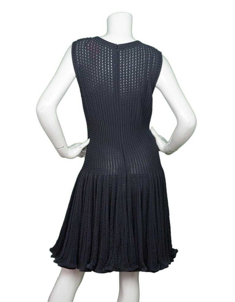 Black Alaia Grey Sleeveless Fit & Flare V Neck Dress Sz L For Sale
