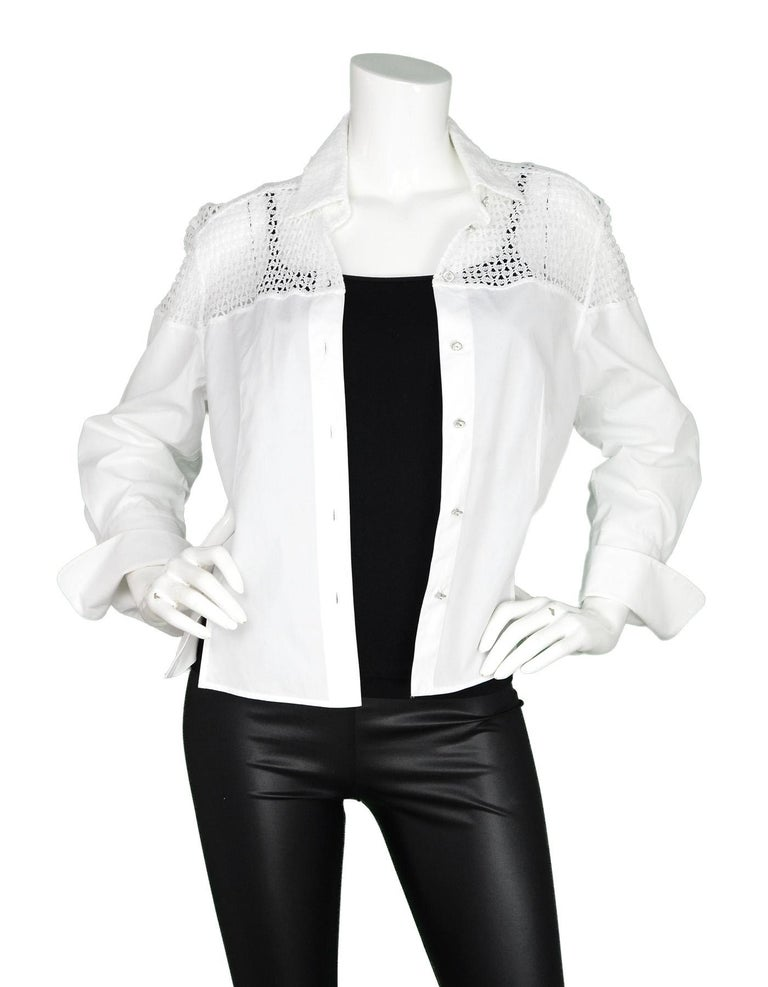 Alaia White Cotton Long Sleeve Blouse W/ Crochet Back & Crystal Buttons Sz 42  Made In: Italy Color: White Materials: 100% cotton Opening/Closure: Crystal button down front Overall Condition: Excellent pre-owned condition   Measurements:  Shoulder