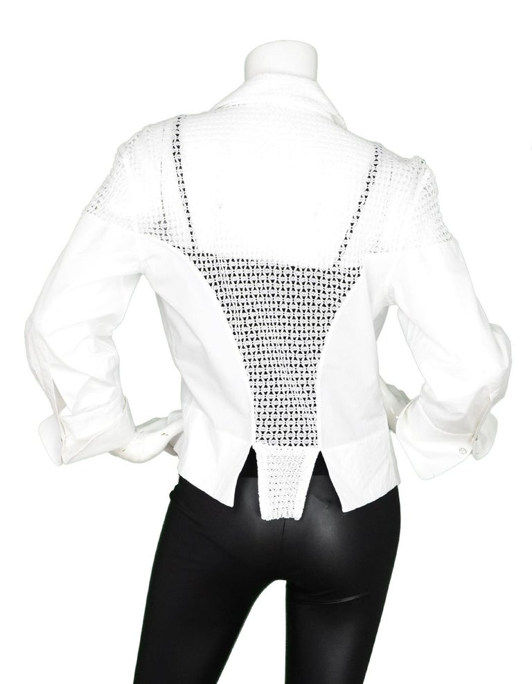 Gray Alaia White Cotton Long Sleeve Blouse W/ Crochet Back & Crystal Buttons Sz 42 For Sale