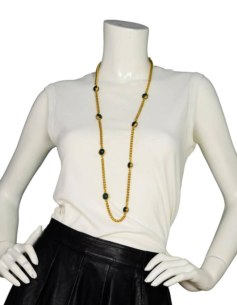 CHANEL Vintage '95 Gold Link & Green Gripoix Necklace For Sale 2