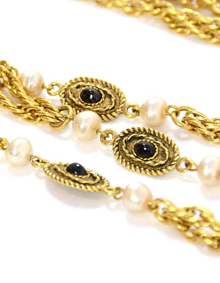 CHANEL Vintage '82 Pearl & Black Beaded Chain Link Necklace In Excellent Condition For Sale In New York, NY