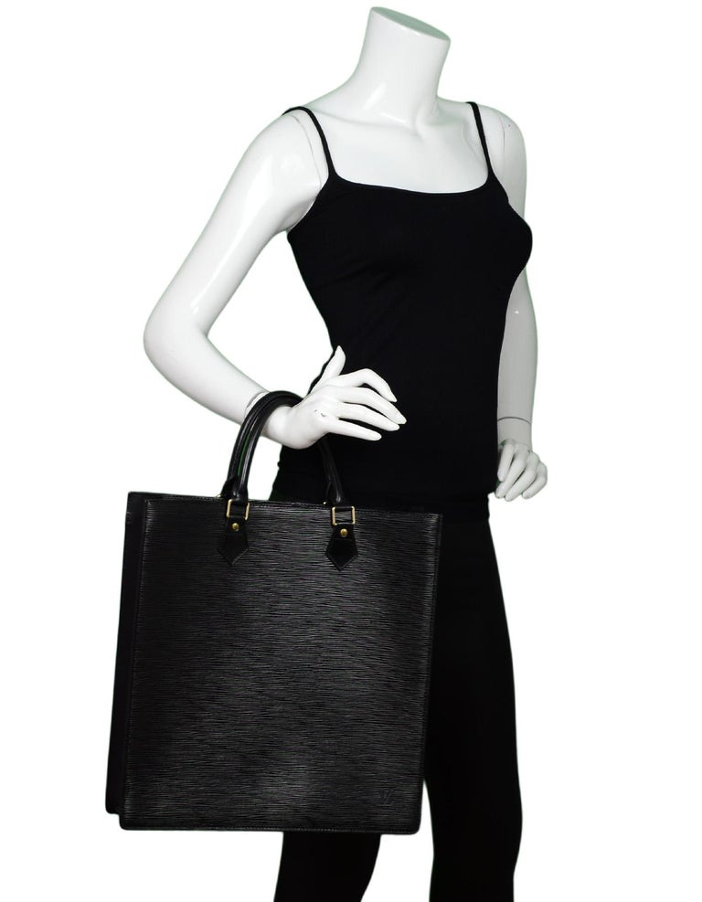 c103ff0e51f9 Louis Vuitton Noir Black Epi Leather Sac Plat GM Tote Bag Unisex Made In   France