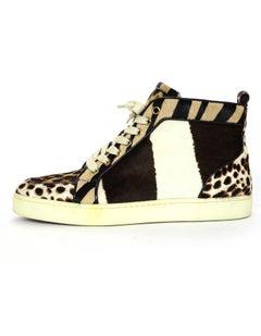 Christian Louboutin Leopard Calfskin High Top Sneakers Sz 40