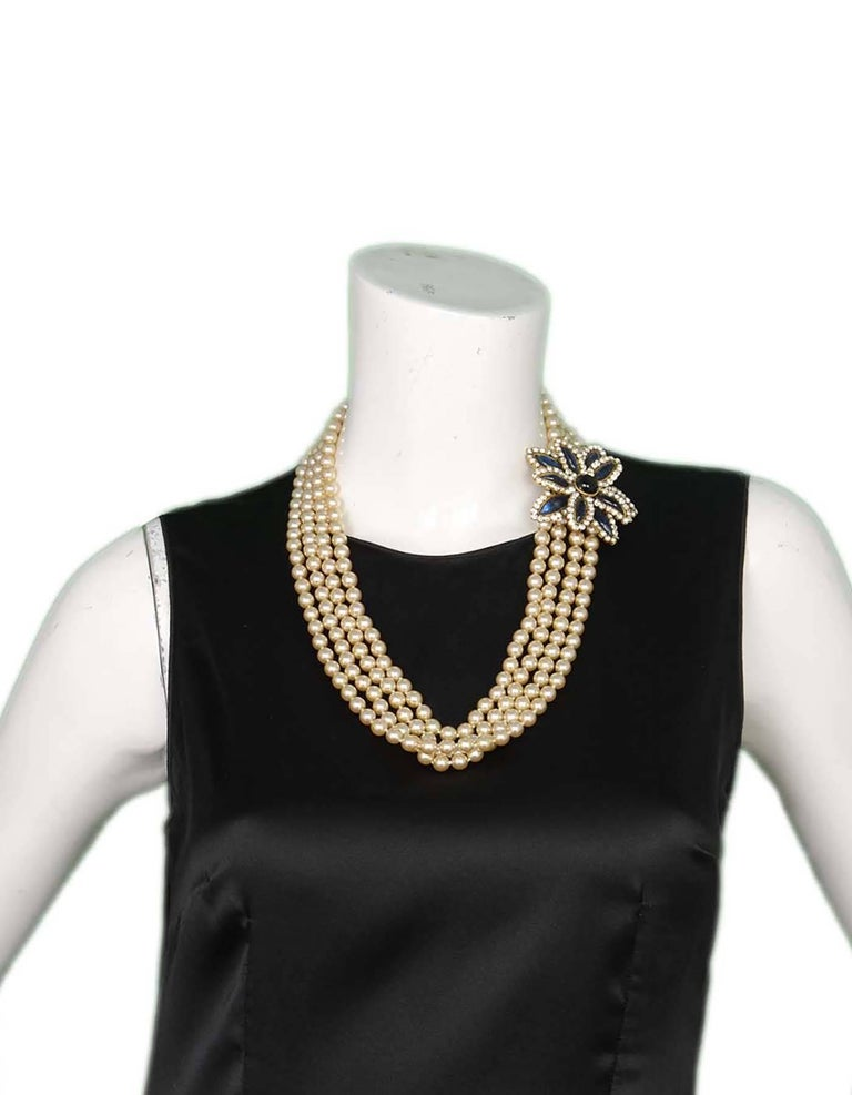 Chanel Vintage '83 Four Strand Pearl Necklace 7