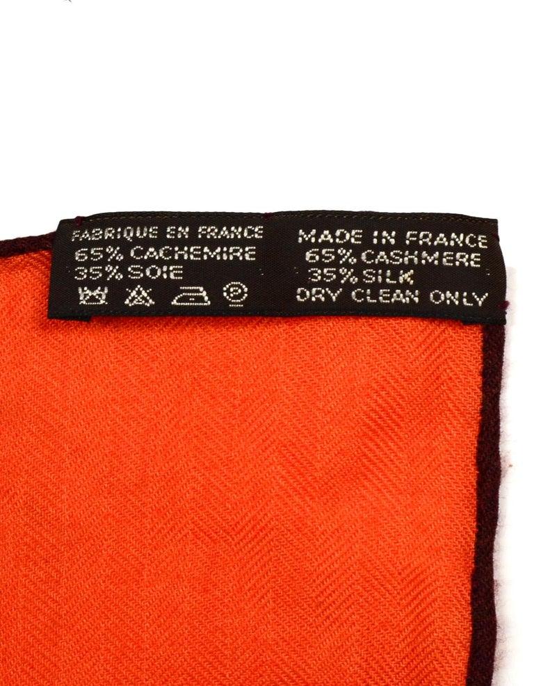 Hermes Orange Voyage En Etoffes Cashmere/Silk Shawl/Scarf  3
