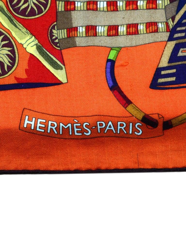 Hermes Orange Voyage En Etoffes Cashmere/Silk Shawl/Scarf  1