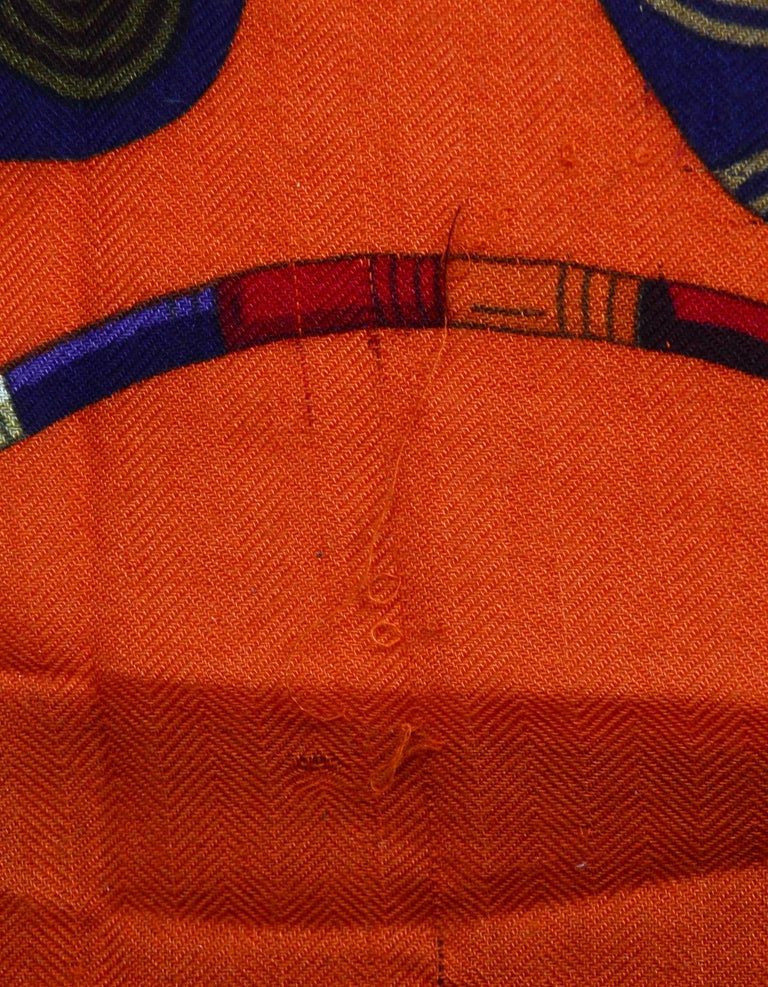 Hermes Orange Voyage En Etoffes Cashmere/Silk Shawl/Scarf  2