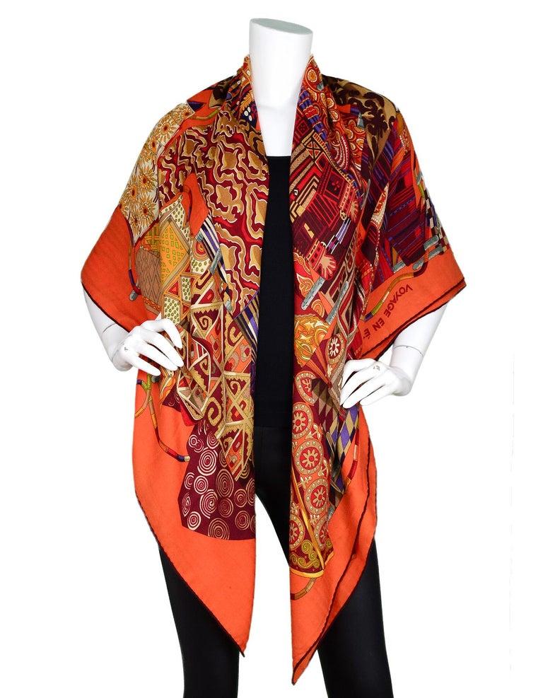 Women's Hermes Orange Voyage En Etoffes Cashmere/Silk Shawl/Scarf