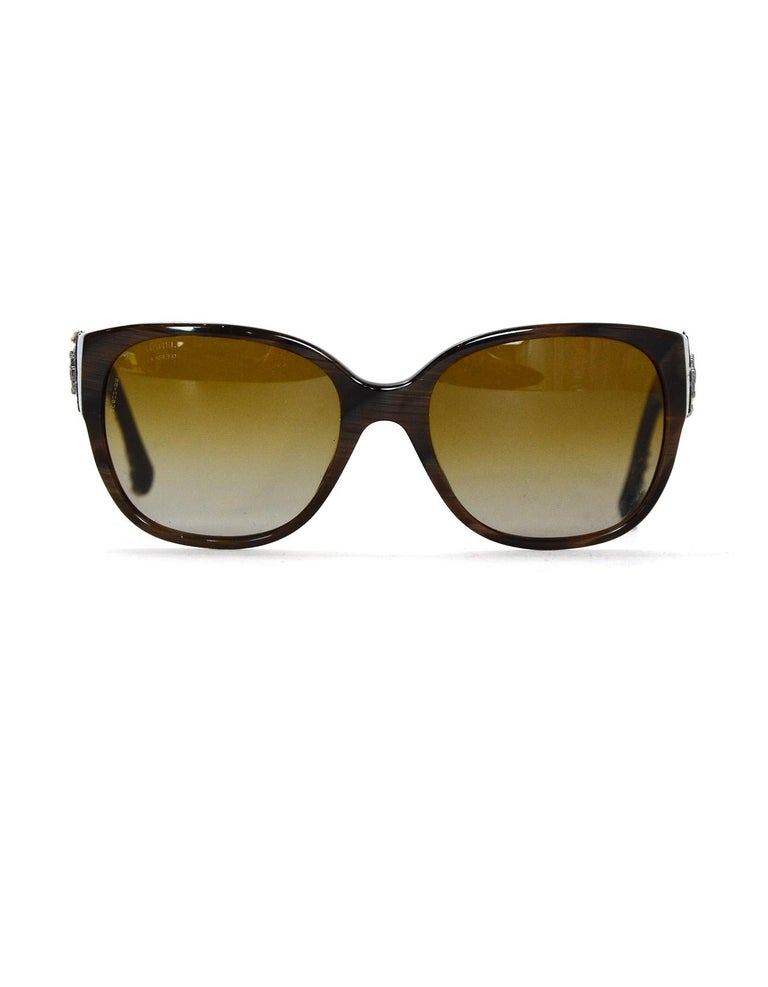 Women's Chanel Brown Sunglasses W/ Tweed Arm & Boy CC Logo W/ Case & Dust Bag For Sale