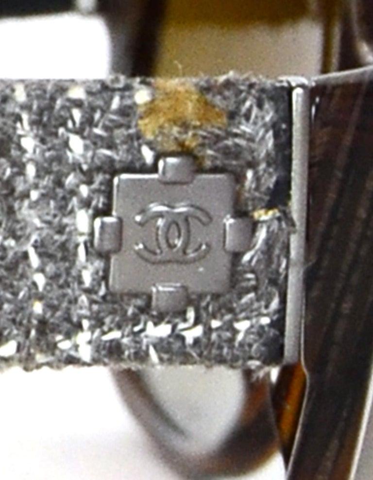 Chanel Brown Sunglasses W/ Tweed Arm & Boy CC Logo W/ Case & Dust Bag For Sale 2