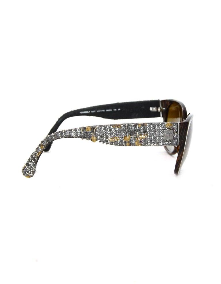 Chanel Brown Sunglasses W/ Tweed Arm & Boy CC Logo W/ Case & Dust Bag For Sale 1