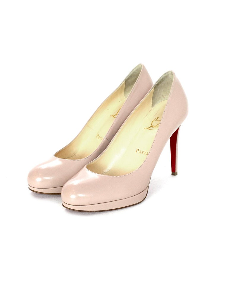 Christian Louboutin Nude New Simple Pump Leather Shoes Sz 38 W/ Box & Dust Bags In Excellent Condition In New York, NY