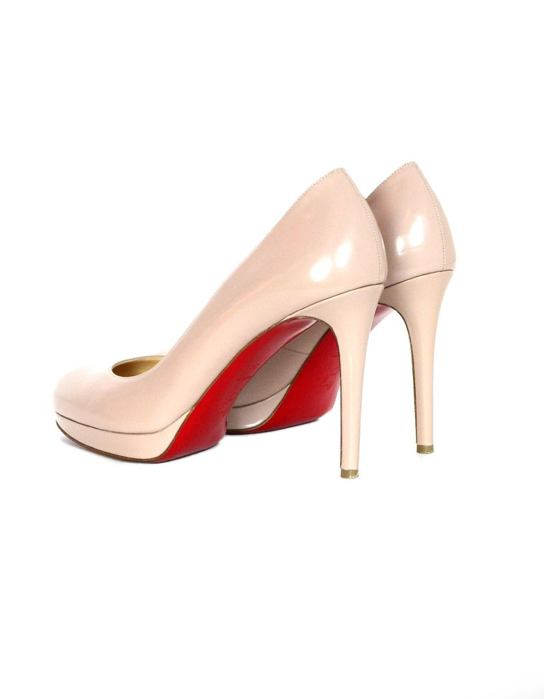 Women's Christian Louboutin Nude New Simple Pump Leather Shoes Sz 38 W/ Box & Dust Bags