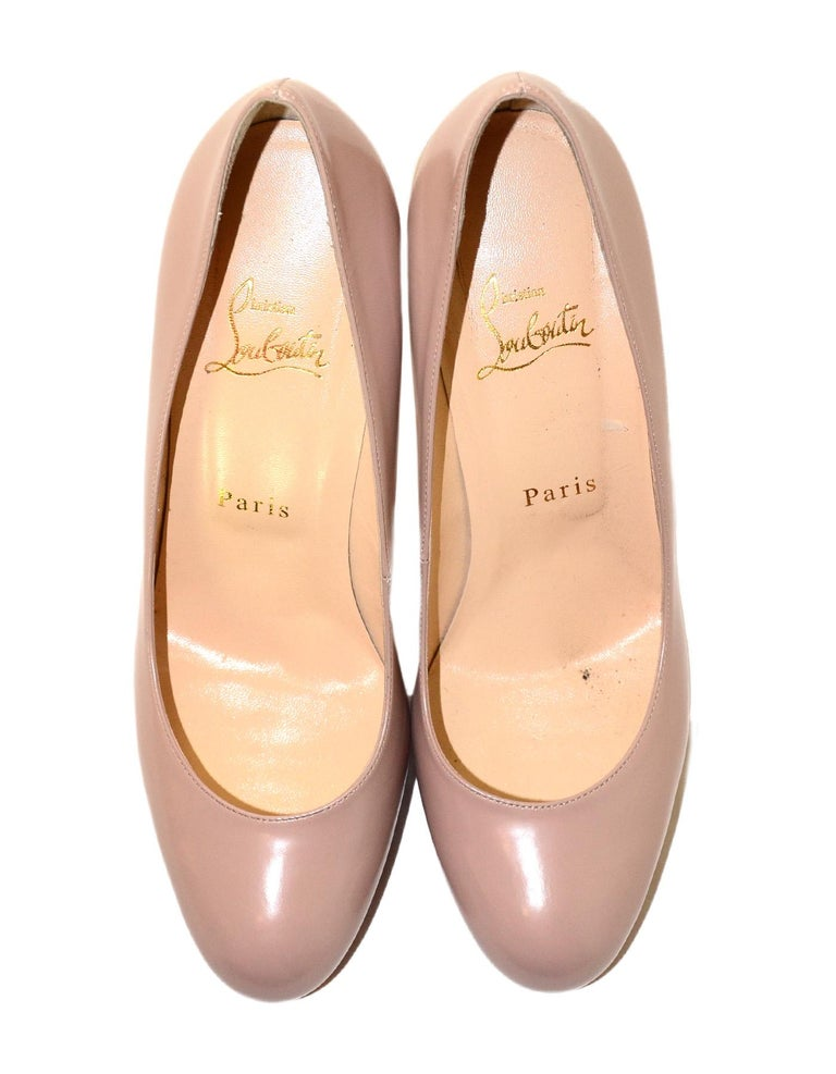 Christian Louboutin Nude New Simple Pump Leather Shoes Sz 38 W/ Box & Dust Bags 1