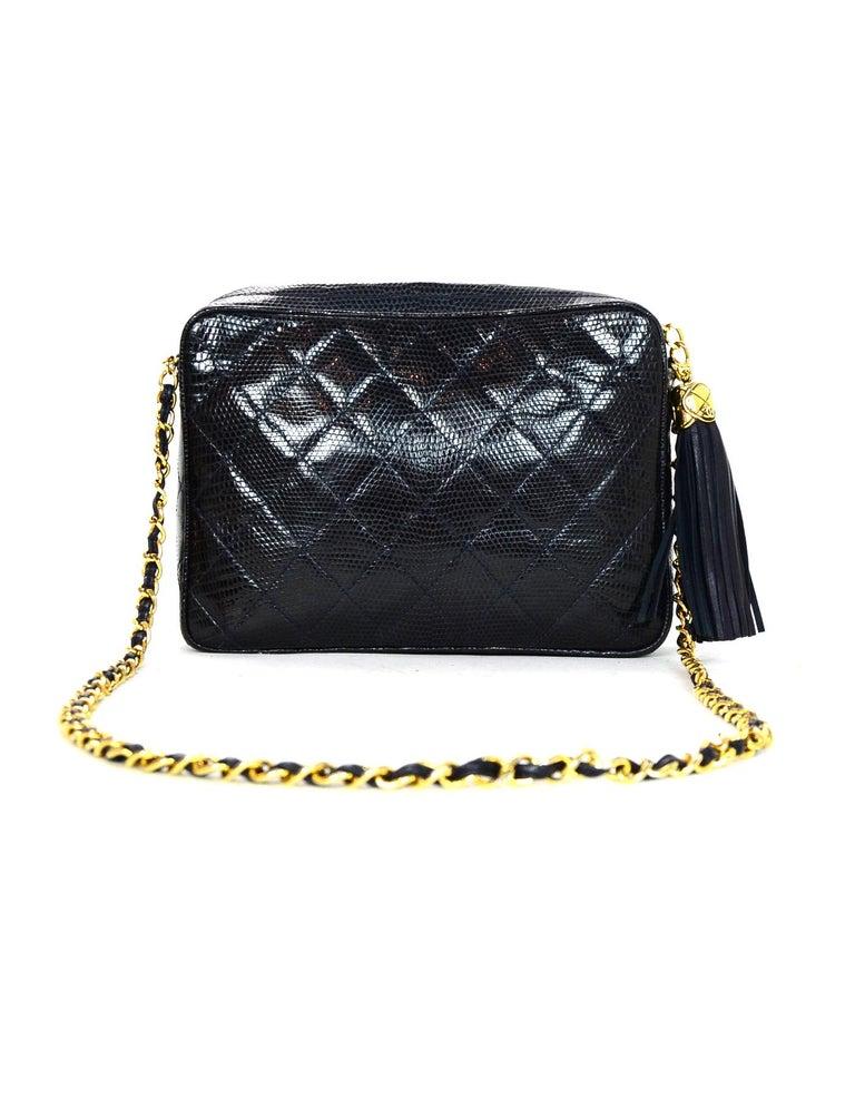 36e54e38b516 Black Chanel Vintage '89-'91 Navy Lizard Quilted CC Camera Crossbody Bag w
