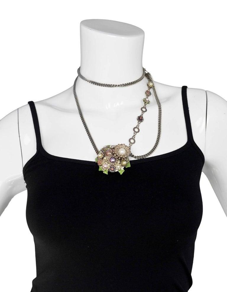Chanel 2005 Silver Chain Link Belt/Necklace w/Flower & CC Pendants 7