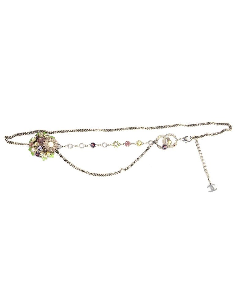 Chanel Silver Flower & CC Chain Belt /Necklace sz L/EU 90 8