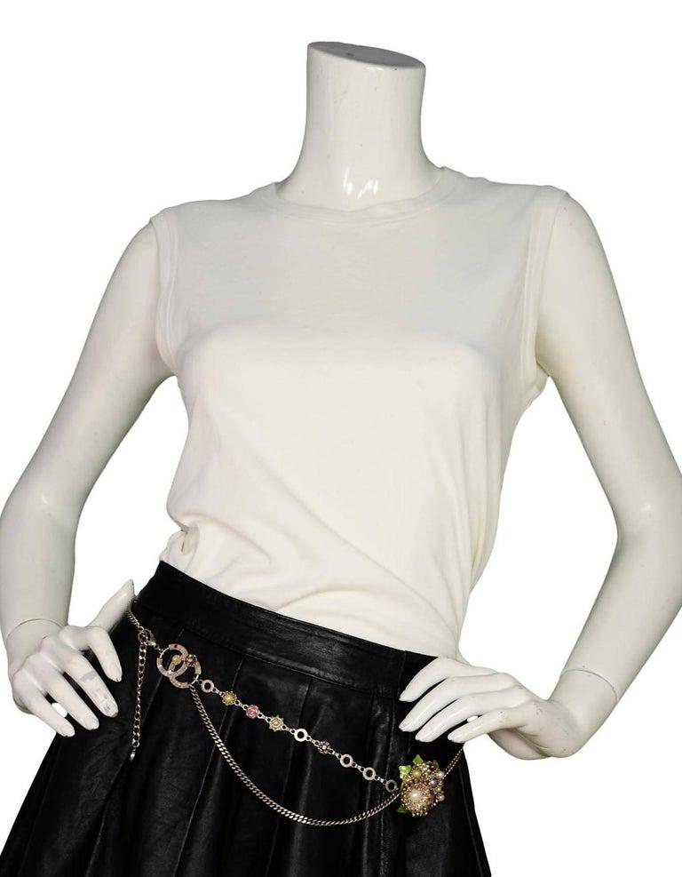 Chanel Silver Flower & CC Chain Belt /Necklace sz L/EU 90 9