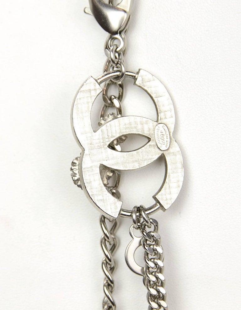 Chanel Silver Flower & CC Chain Belt /Necklace sz L/EU 90 For Sale 3