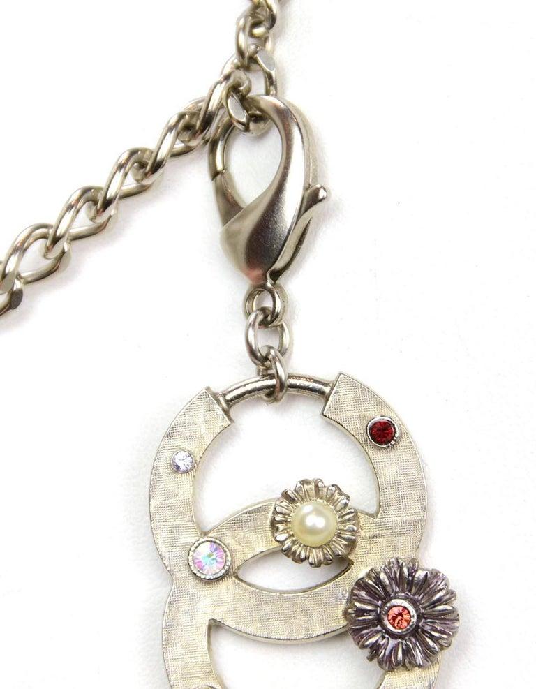 Chanel Silver Flower & CC Chain Belt /Necklace sz L/EU 90 For Sale 2