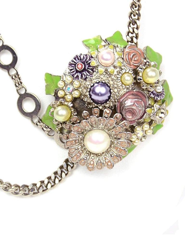 Chanel Silver Flower & CC Chain Belt /Necklace sz L/EU 90 For Sale 1