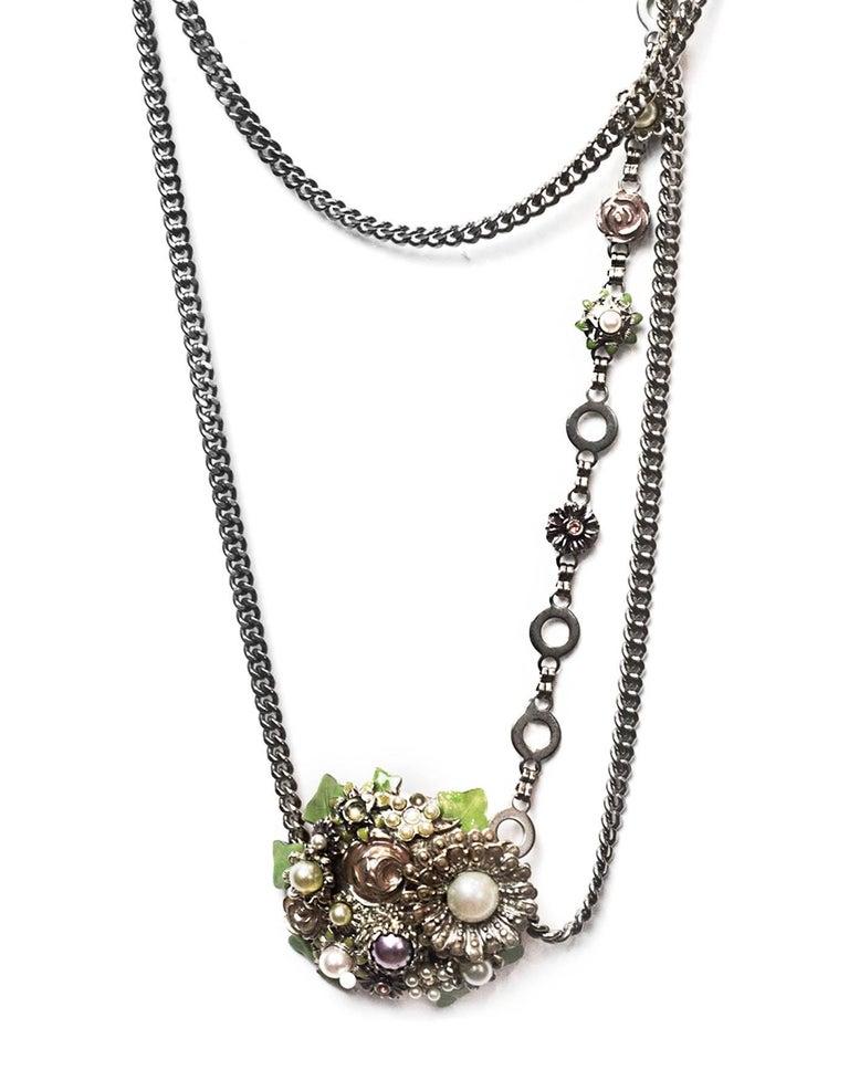 Beige Chanel Silver Flower & CC Chain Belt /Necklace sz L/EU 90 For Sale