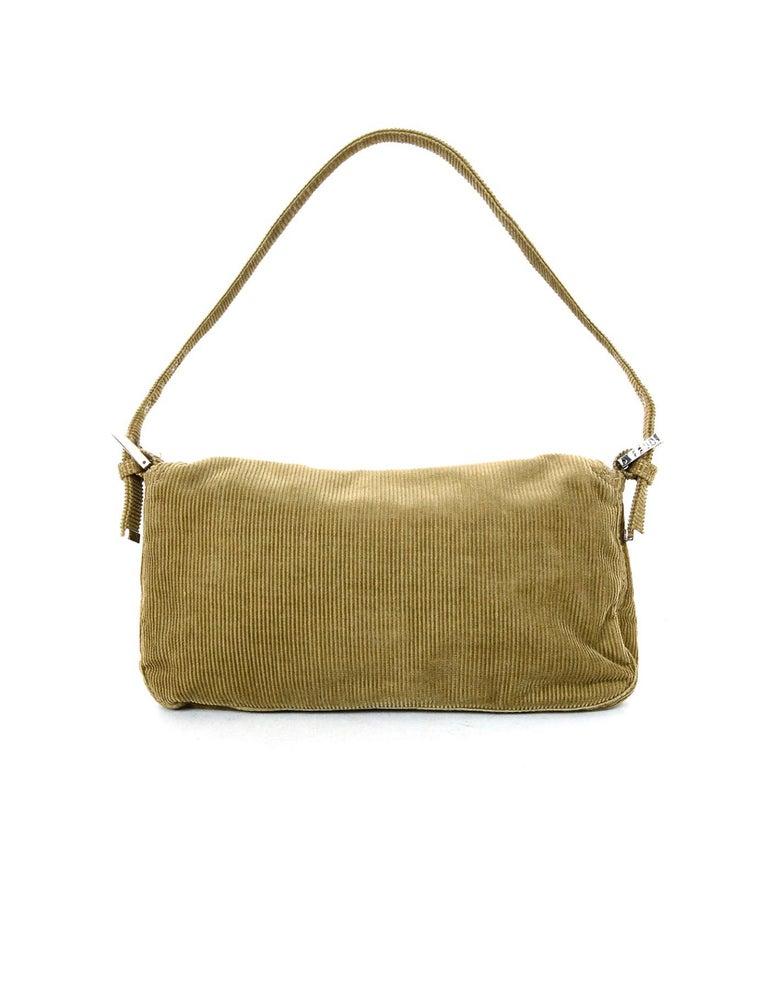 Fendi Beige Corduroy Baguette Bag w  Silvertone Logo Buckle In Excellent  Condition For Sale In 9024d11767cf