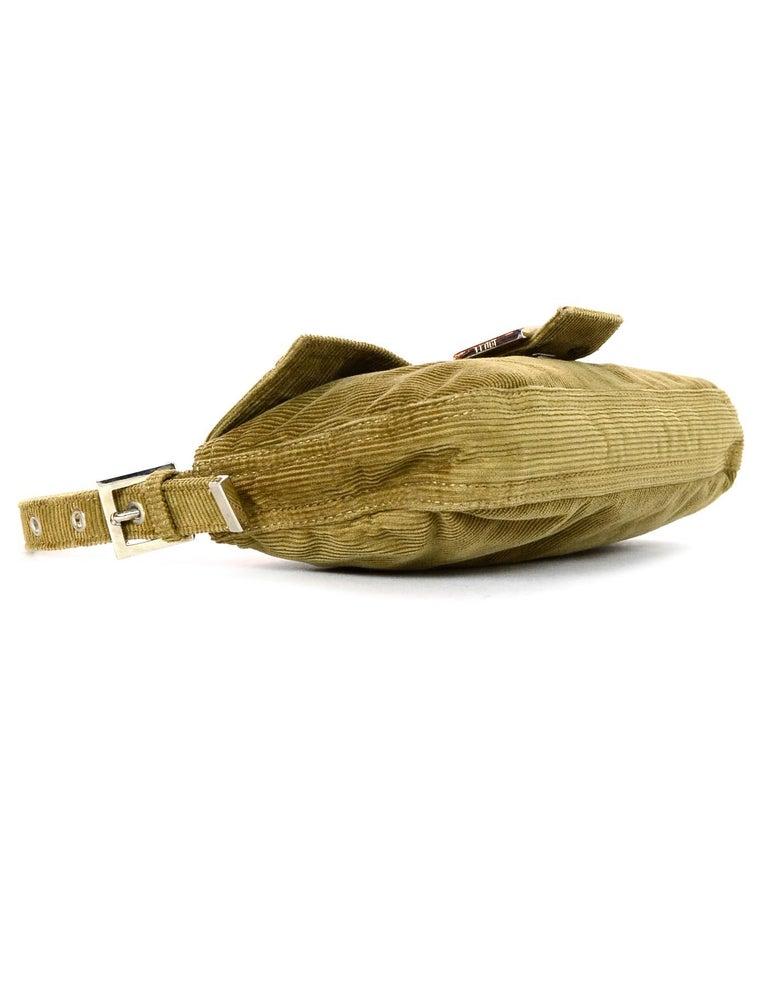 0dd41495bc28 Women s Fendi Beige Corduroy Baguette Bag w  Silvertone Logo Buckle For Sale
