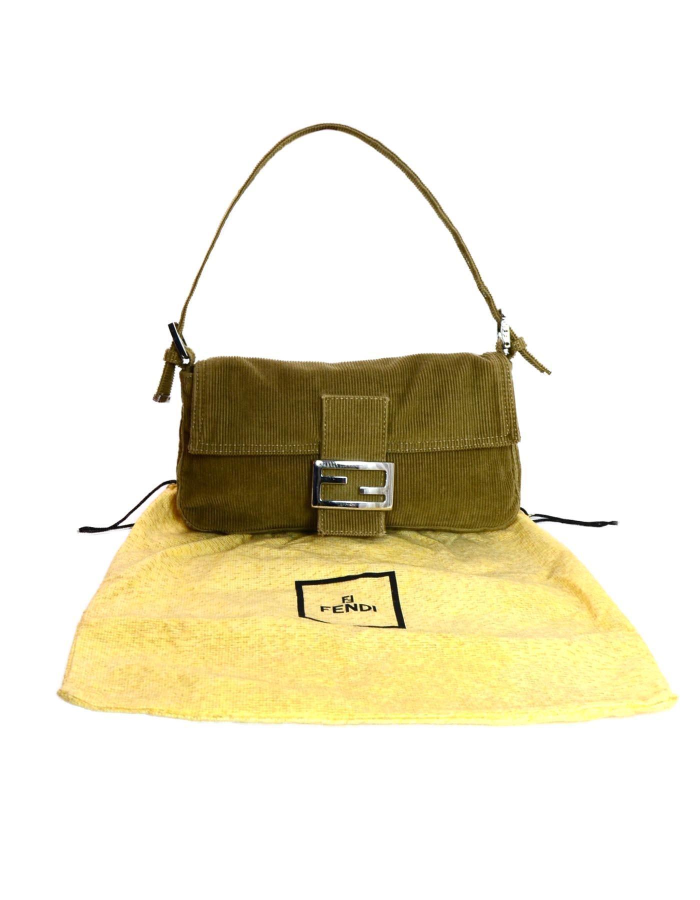 cf34aff11b29 Fendi Beige Corduroy Baguette Bag w  Silvertone Logo Buckle at 1stdibs