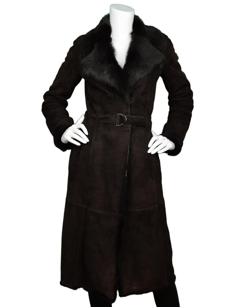 Joseph Brown Shearling/Suede Coat W/ Belt Sz 36  Made In: France Color: Brown Materials: Shearling/suede Lining: Shearling Opening/Closure: Hook eye closure and belt Overall Condition: Excellent pre-owned condition with exception of minor