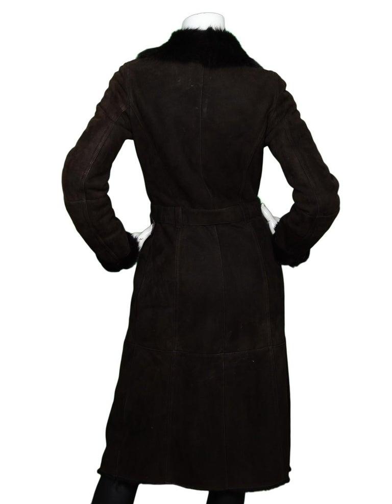 Black Joseph Brown Shearling/Suede Coat W/ Belt Sz 36 For Sale