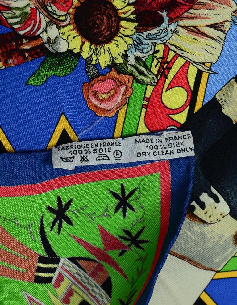 Hermes Blue Kachinas Silk Scarf 92 1