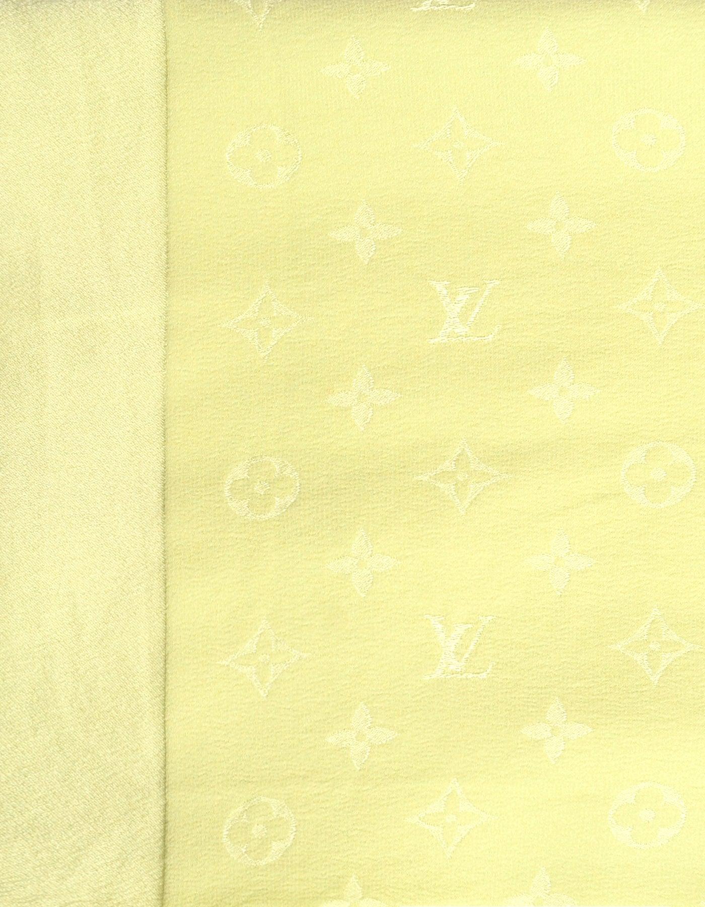 Louis Vuitton Light Green Lv Monogram Silk Scarf For Sale At 1stdibs