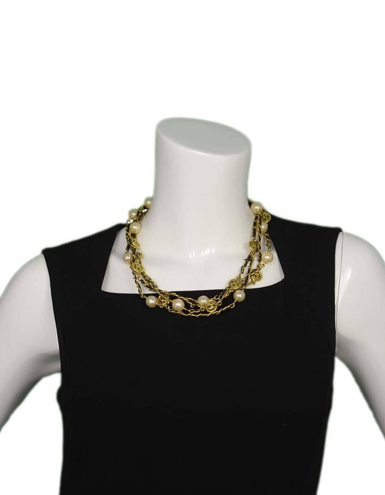 Chanel Vintage '94 Leather Woven Gold Chain Link Necklace For Sale 3