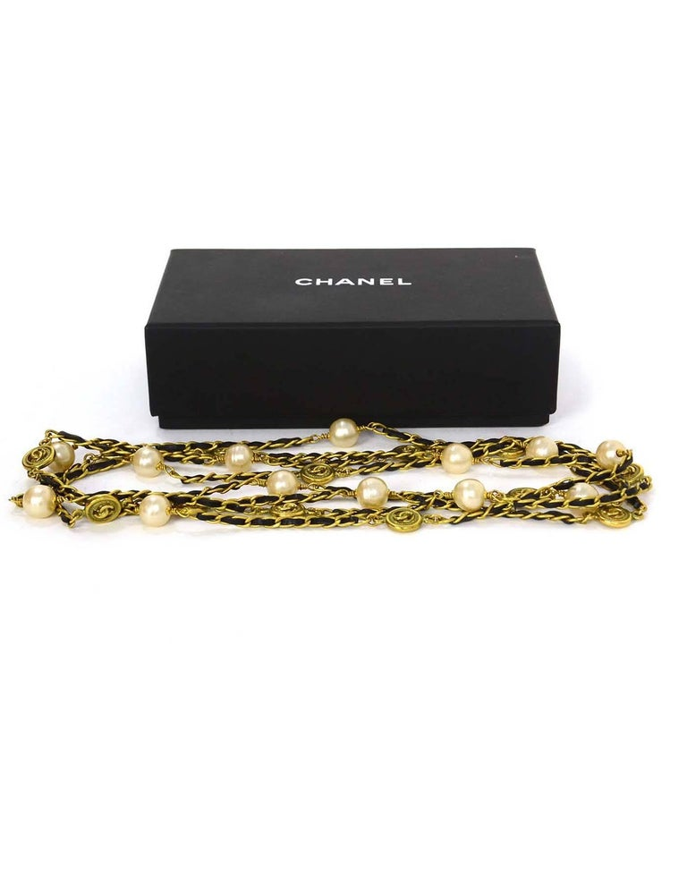 Chanel Vintage '94 Leather Woven Gold Chain Link Necklace For Sale 2