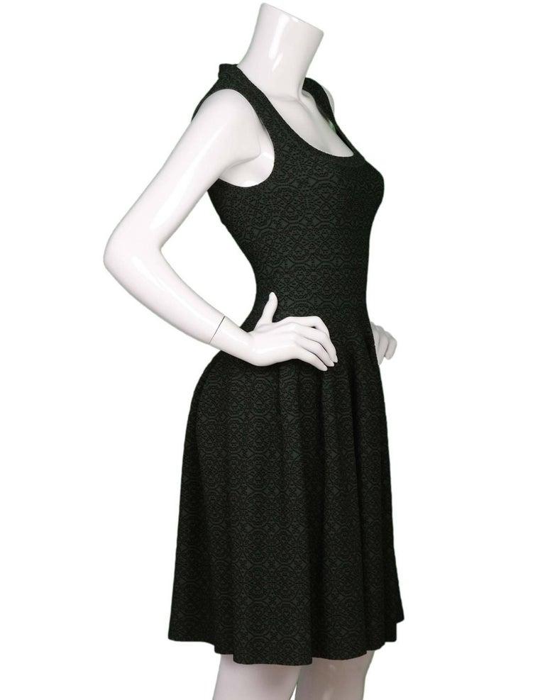 Black ALAIA Dark Green Sleeveless Fit Flare Dress sz 40 For Sale