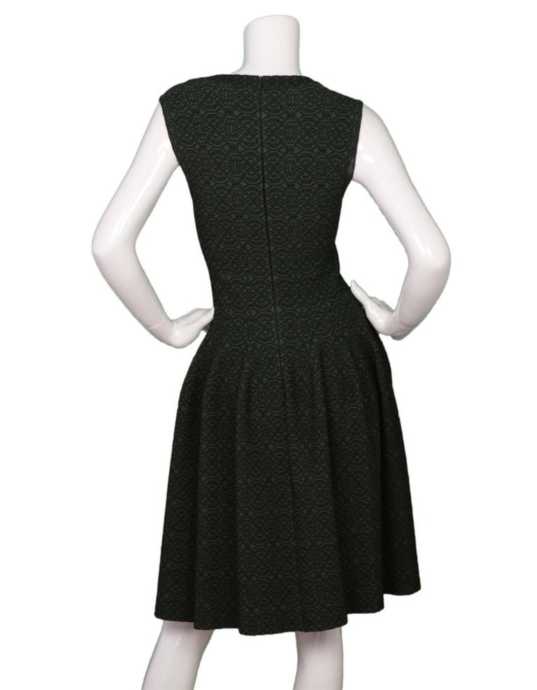 ALAIA Dark Green Sleeveless Fit Flare Dress sz 40 In Excellent Condition For Sale In New York, NY