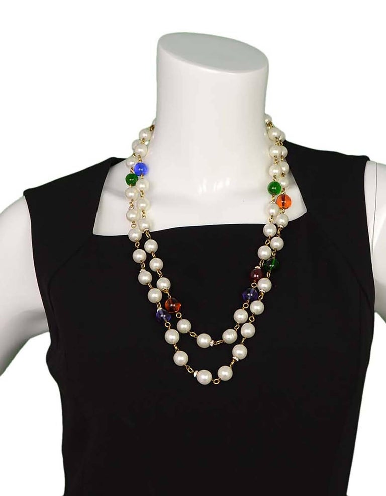 Chanel Vintage '90s Pearl and Glass Bead Double Strand Necklace For Sale 1