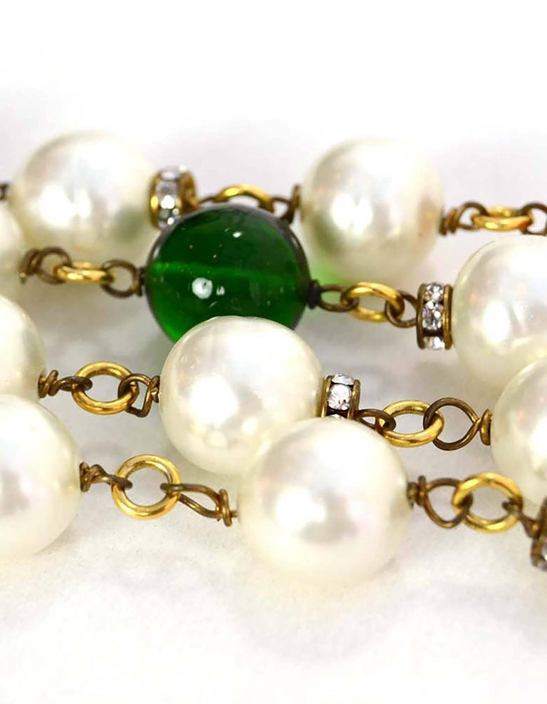 Chanel Vintage '90s Pearl and Glass Bead Double Strand Necklace 2