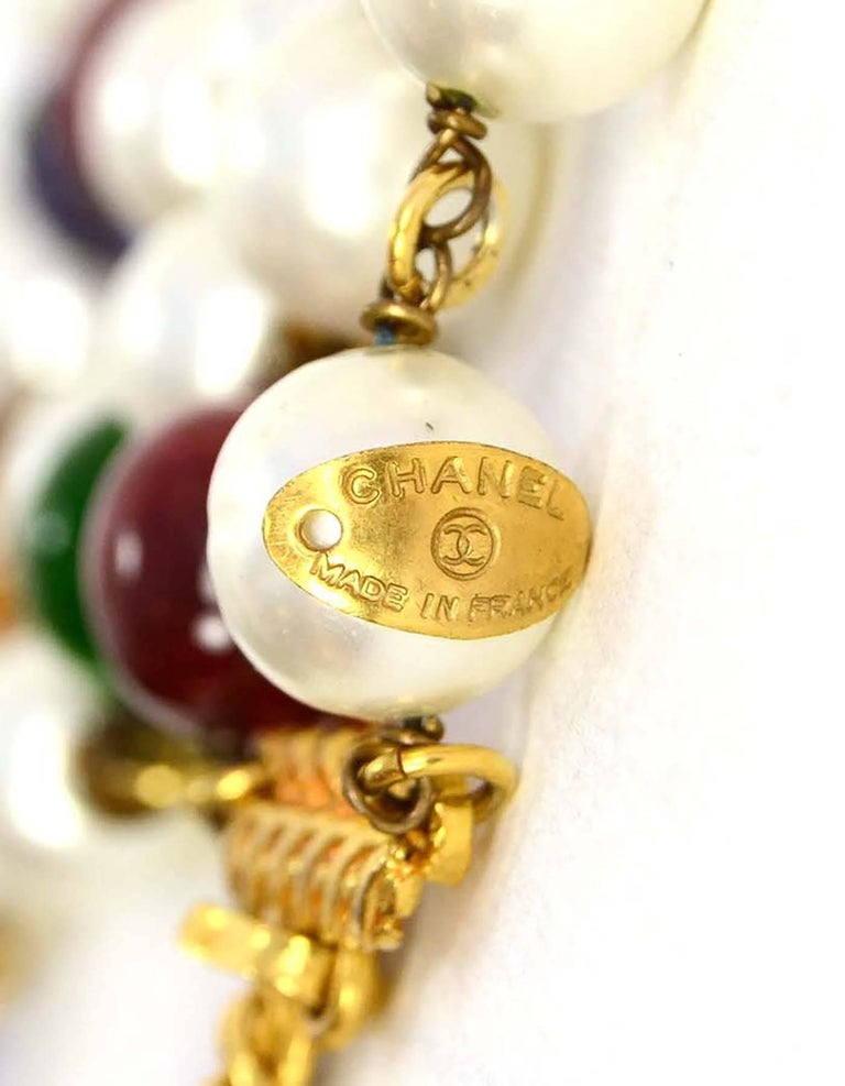 Chanel Vintage '90s Pearl and Glass Bead Double Strand Necklace 4