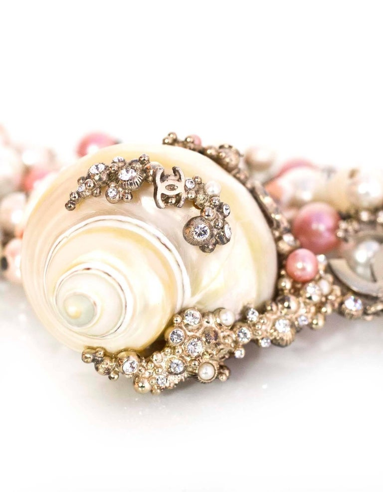 Women's Chanel  Pink & White MOP Shell Drop Necklace For Sale