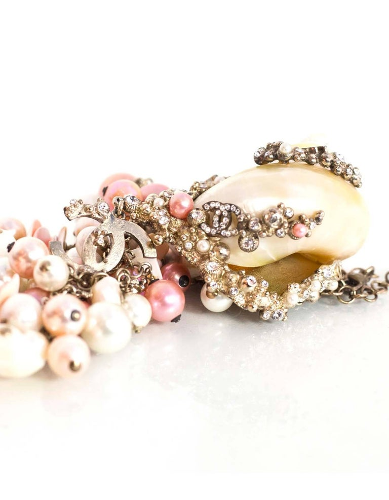 Chanel  Pink & White MOP Shell Drop Necklace For Sale 2