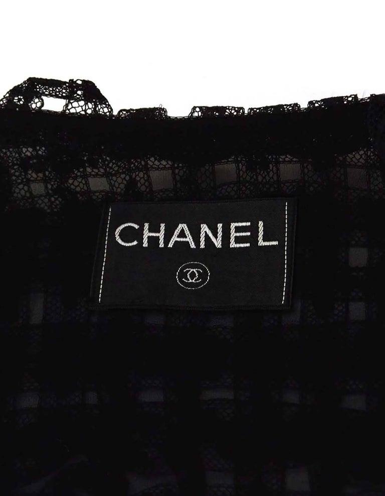 CHANEL Black Lace Open Front Jacket sz M For Sale 2