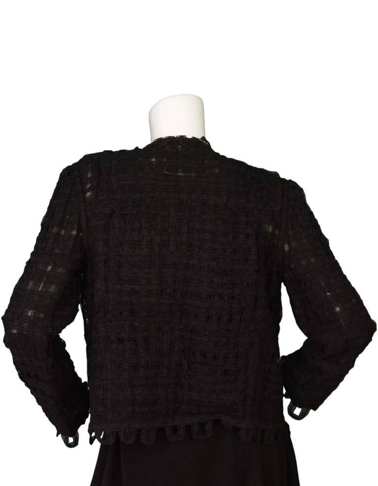 CHANEL Black Lace Open Front Jacket sz M For Sale 1