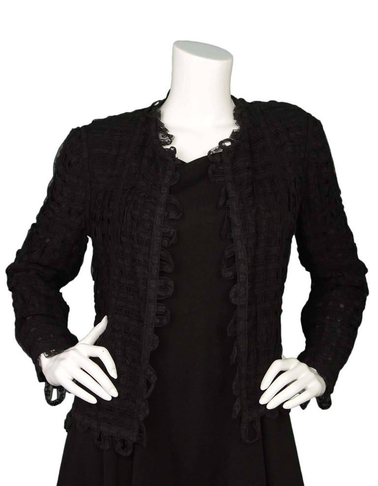 CHANEL Black Lace Open Front Jacket sz M In Excellent Condition For Sale In New York, NY