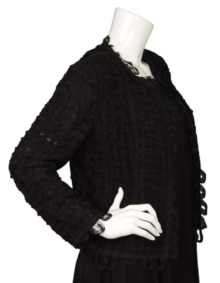 Women's CHANEL Black Lace Open Front Jacket sz M For Sale