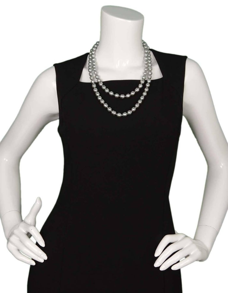 CHANEL Vintage '81 Grey Pearl Long Strand Necklace 6