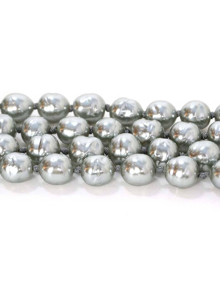 CHANEL Vintage '81 Grey Pearl Long Strand Necklace 4